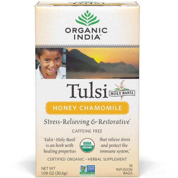 Ajurvédsky čaj Tulsi s harmančekom a medom od Organic India