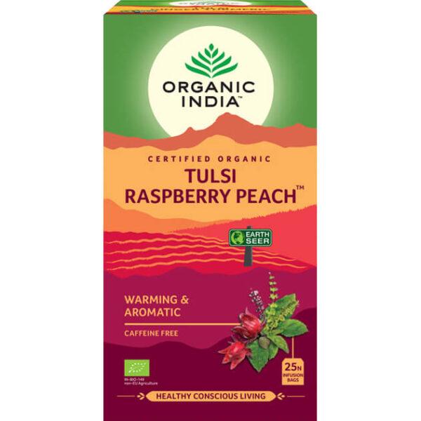 Porciovaný čaj Tulsi s malinou a broskyňou od Organic India