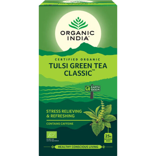 Porciovaný čaj Tulsi so zeleným čajom od Organic India