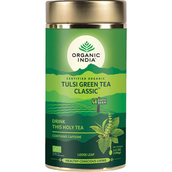 Sypaný čaj Tulsi so zeleným čajom od Organic India