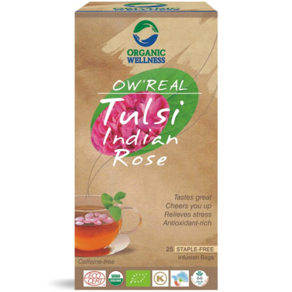 Porciovaný čaj Tulsi Indian Rose od Organic Wellness