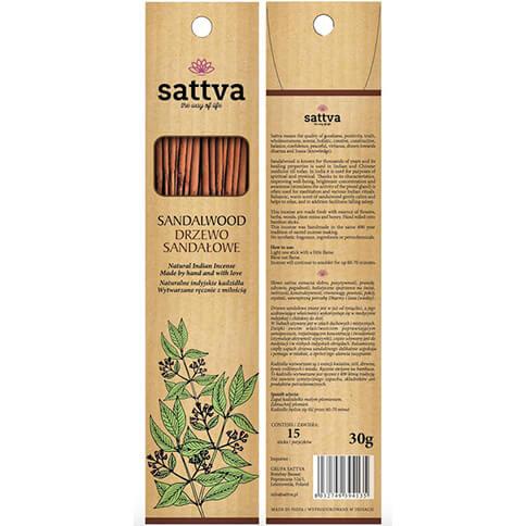 Ručne vyrobené vonné tyčinky Santalové drevo 15 ks od Sattva