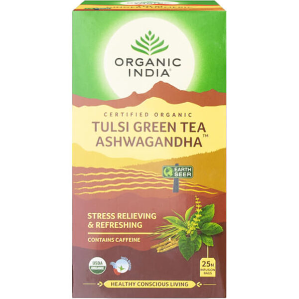 Porciovaný čaj Tulsi so zeleným čajom a ašvagandou od Organic India