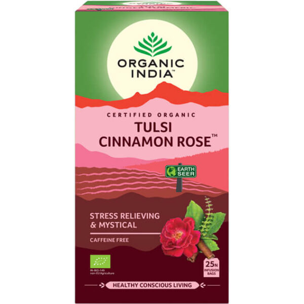 Porciovaný čaj Tulsi s ružou a škoricou od Organic India