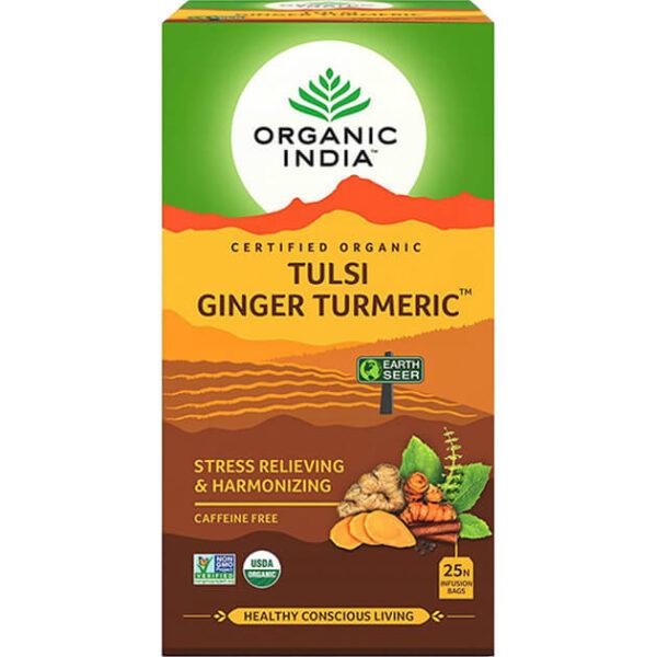 Porciovaný čaj Tulsi s kurkumou a zázvorom od Organic India